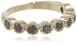 10k Yellow Gold 9-Stone Black Diamond Ring (3/4 cttw), Size 8 from Amazon Curated Collection