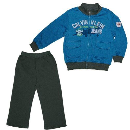 カルバンクライン(Calvin Klein)男の子スチールブルーロゴプリントジップアップジャケット&グレースウェットパンツ上下2点セット 3T 3歳用 100cm-105cm ギフトプレゼント,【並行輸入】