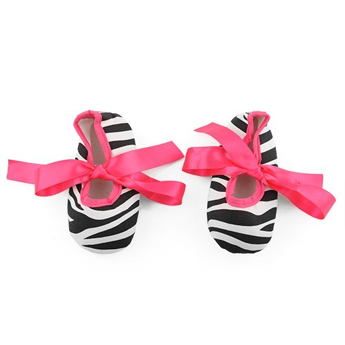 Lovely Soft Baby Toddler Girls Dot Zebra Stripe Damask Print Silk Ribbon Shoes (6-12 Month, Hot Pink Zebra)