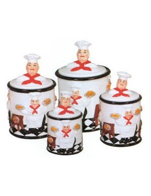 4pc kitchen canister set fat chef bistro kitchen decor
