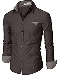 Doublju Mens Casual Patched Dress Shirts CHARCOAL(DU063), Asian L(US-M)