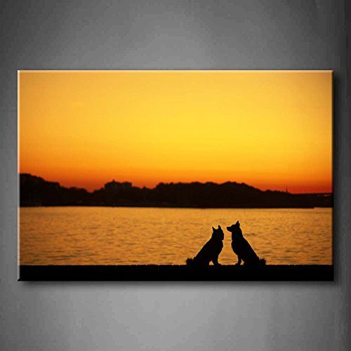 Yellow Orange Two Dog Play On Seaside At Sunset Wall Art Painting The Picture Print On Canvas Animal Pictures For Home Decor Decoration Gift (Stretched By Wooden Frame,Ready To Hang)