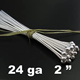 Sterling Silver Ball End Head Pins - 24 Gauge and 2 Inch Long (25 Pieces)