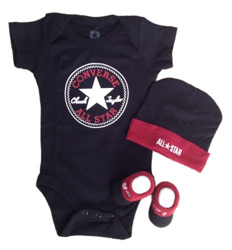 Converse Baby Bodysuit, Booties & Cap 3 Pcs Set