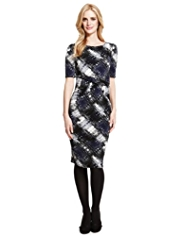 M&S Collection Abstract Checked Ruched Bodycon Dress
