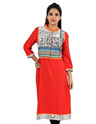 Sir N Maam Solid Red Jacket Style Long Viscose Women's Kurti