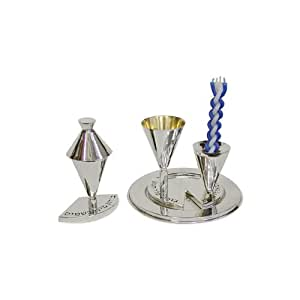 Sterling Silver Havdalah Set with Plate and Engraved Hebrew Text