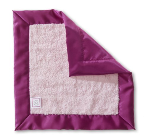 SwaddleDesigns Baby Lovie, Pastel Security Blankie with Jewel Tone Trim, Very Berry