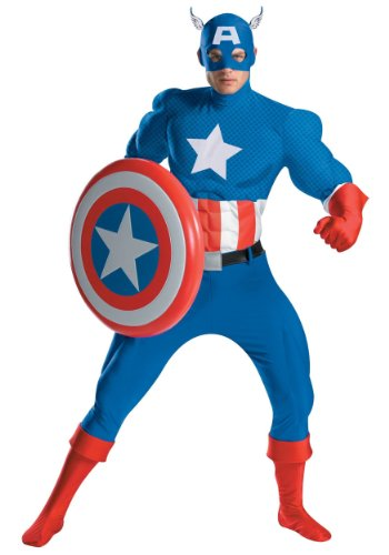 Disguise Men's Captain America Deluxe Adult Muscle Costume