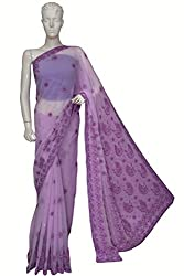ADA Lucknow Chikan Hand Embroidery Mauve Georgette Designer Ethnic Saree With Blouse A5177