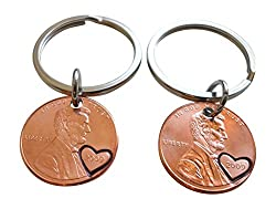 Double Keychain Set 2009 Penny Keychains with Heart Around Year; 7 Year Anniversary Gift, Hand Stamped Couples Keychain by Jewelry Everyday