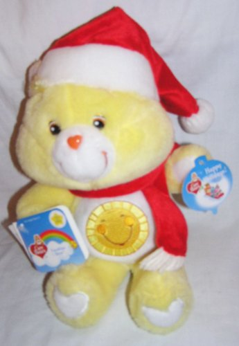 "2002 Care Bears 20Th Anniversary 13"" Christmas Plush Funshine Bear With Santa Hat And Scarf front-1005316"