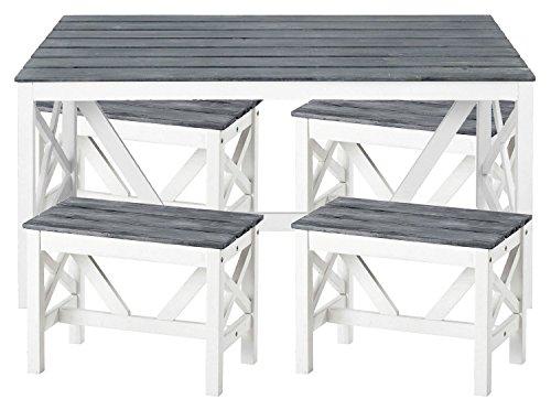 5-tlg-Esstischgarnitur-Texel-Tisch-mit-4-Hockern-aus-Akazien-Holz-in-grau-wei-Gartentisch-Sitzgruppe-Gartenmbel