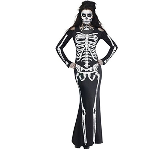 [Women Black Cosplay Long Skeleton Dress Adult Carnival Halloween Party Costume] (Halloween Little Dead Riding Hood Costume)