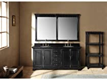 "Hot Sale 71"" Providence Double Bathroom Vanity w/ Black Marble Top"