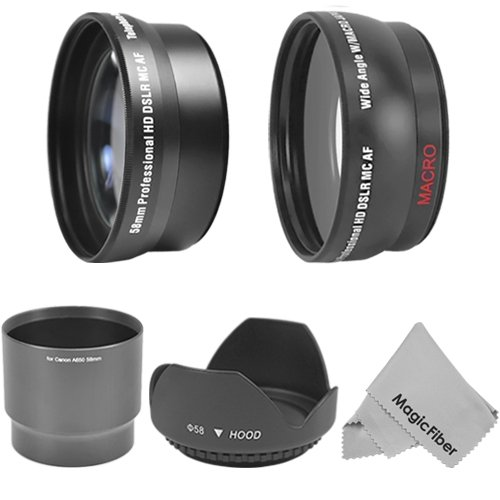 58Mm Essential Accessory Kit For Canon Powershot A650 Is Camera - Includes: 0.43X Wide Angle (W/ Macro Portion) And 2.2X Telephoto High Definition Lenses + Lens Adapter Tube + Tulip Flower Lens Hood + Magicfiber Microfiber Lens Cleaning Cloth