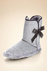 Bow Velour Boot Slippers [T82-3639-S]