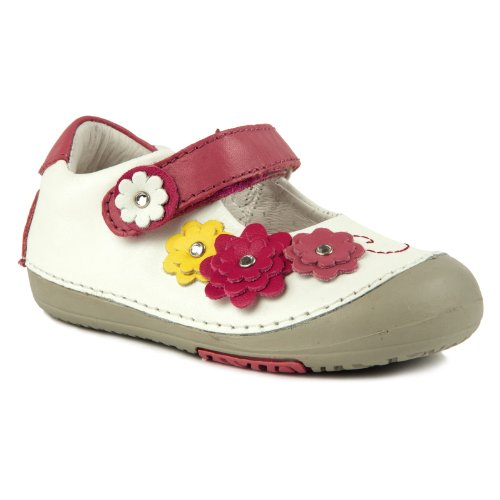 Momo Baby Mary Jane Leather Shoes - Flower Power White Size 4.5 front-38519