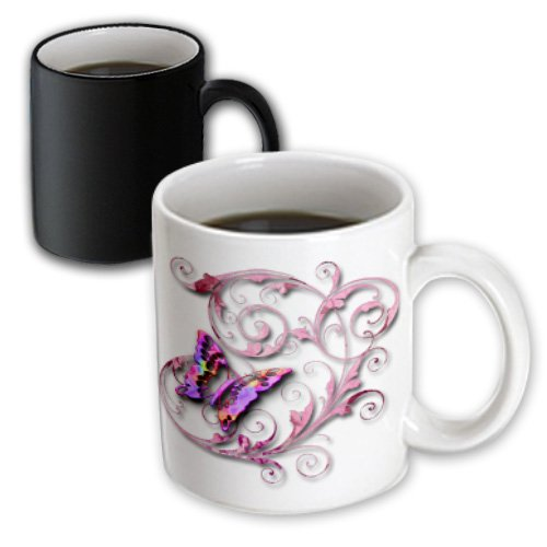 3Drose Mug_167212_3 Golden Accented Vines And Pretty Multi Colored Butterfly Magic Transforming Mug, 11-Ounce