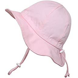 Baby Sun Hat with Chin Strap, Drawstring Adjust Head Size, Breathable 50+ UPF (S: 0 - 9m, Pink)