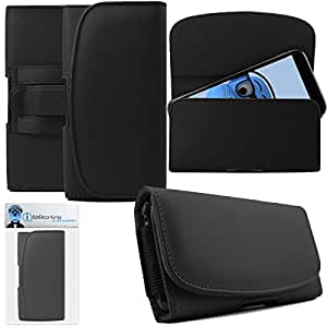 iTALKonline Motorola Moto X2 2nd Generation Black PREMIUM PU Leather Horizontal Executive Side Pouch Case Cover Holster with Belt Loop Clip and Magnetic Closure