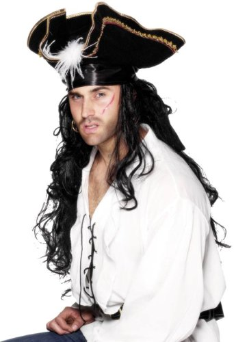 Smiffy'S Pirate Commander Hat With White Marabou Trim