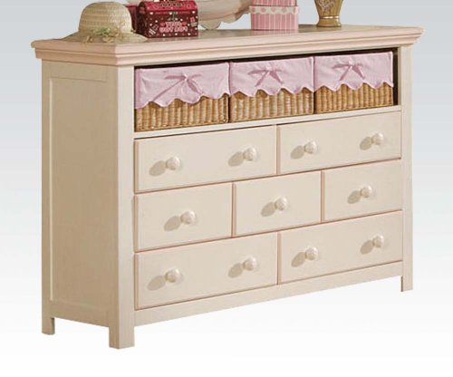 Acme 00761 Crowley Dresser With Three Baskets, Cream And Peach Finish front-1026562