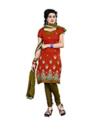 Shree Vardhman Synthetics Brown Semi Cotton Top Straight Unstiched Salwar Suit Dress Material
