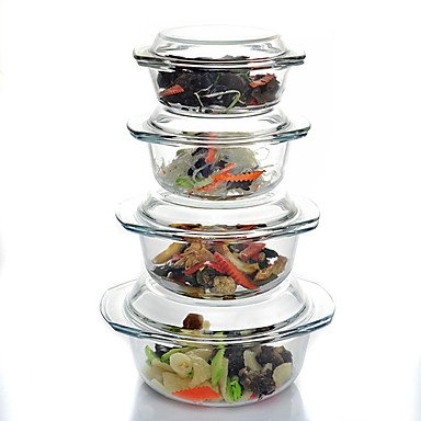 Microwave Safe Mixing Bowls with Covers Set of 4 Glass 0.65L/1L/1.5L/2.5L