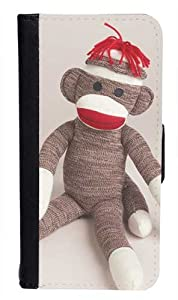CellPowerCasesTM Sitting Sock Monkey Bi-fold iPhone 4 Case - Fits iPhone 4 & iPhone 4S