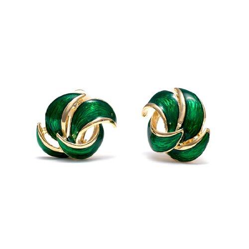 Rodney Holman Green Enamel and Gold Plated Petal Clip On Earring