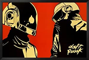 Professionally Framed Daft Punk Red Background Music Poster Print - 24x36 with Solid Black Wood Frame