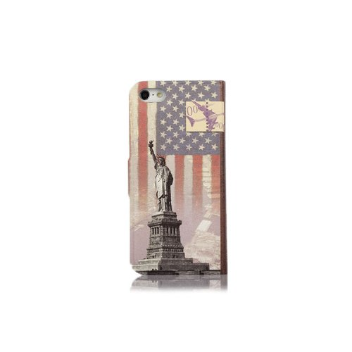 Primecases? Retro Vintage PU Leather Case Cover for Apple iPhone 5S (Statue of Liberty)