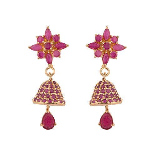 Rajwada Arts Fusion Style Gold Plated Earring With Pink Stones For Women