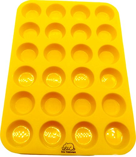 Yellow 24 Cup Silicone Mini Muffin/Cupcake Pan with Recipe eBook (14) by Bear Bakeware, Non-stick, BPA-free, Dishwasher Friendly, FDA Approved 100% Food Grade Silicone