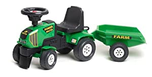 Falk Power Master 1014B Ride-On Toy Baby Tractor with Trailer Green
