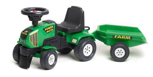 Falk 1014B - Trattore giocattolo Power Master con rimorchio, colore: Verde