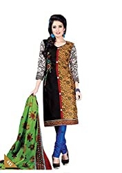 Pruthu Women's Cotton Unstitched Dress Material (pt_442_Black_Free Size)