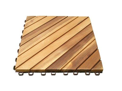 VIFAH V368 Acacia Hardwood 12-Slat Deck Tiles, 10-Pack