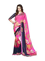 Texclusive Women's georgette Saree with designer Blouse Piece