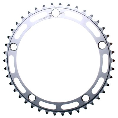 Rocket Alloy Chainring 144mm, 5 Bolt 42T Silver 3/32 Road Pitch
