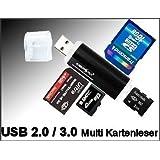 Mini Kartenleser Speicherkarten Lesegerät / Kartenlesegerät USB 1.0 /2.0 / 3.0 bis 32 GB in Schwarz