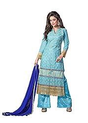 Prenea Women's sky blue unstitched embroidery work unstitched Salwar Suit