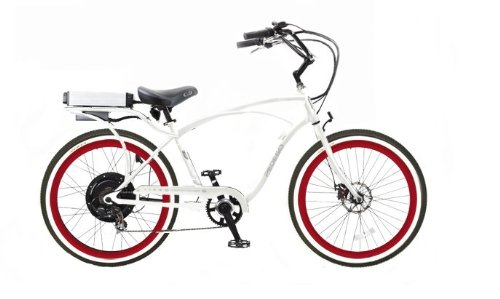 Pedego White Comfort Cruiser Classic Electric Bike with Red Rims Whitewall Tires