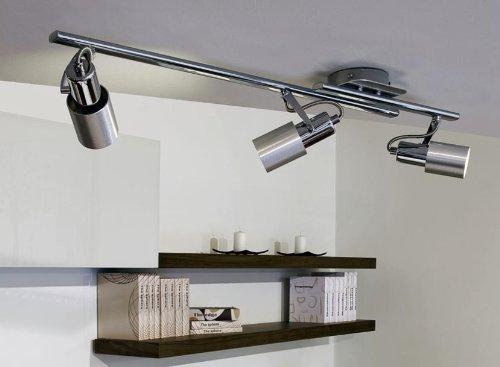 """Moderne energiesparende Lichtschiene """"Sines"""" in Alu gebürstet und Chrom – 3-flammig – Länge: 750 mm"""