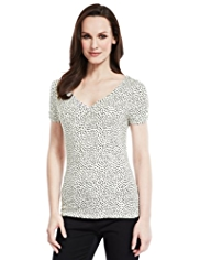 M&S Collection V-Neck Ruched Spotted Top