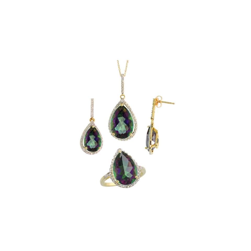 10k Gold Teardrop Dangle Earrings (26mm tall), Ring (17mm wide) & 18 in. Necklace SET, w/ Brilliant Cut Diamonds & Pear Cut Mystic Topaz Stones; Ring Size 5