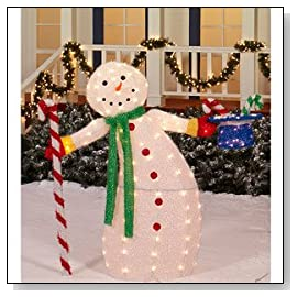 CHRISTMAS DECORATION LAWN YARD ANIMATED LIGHTED SNOWMAN SCULPTURE 42