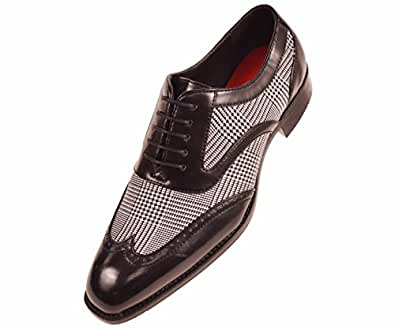 sio mens two tone glen plaid and black smooth wingtip