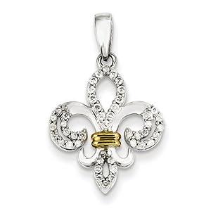 IceCarats Designer Jewelry 14K White Gold Rhodium Diamond Fleur De Lis Pendant